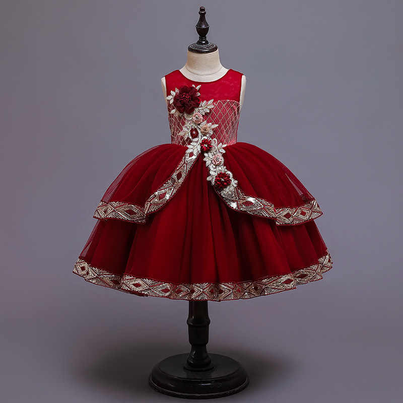フラワーガールのドレス子供の初聖体のドレスエレガントなノースリーブスパンコール花刺繍クリスマスボールガウン