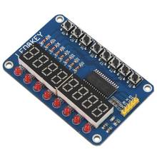 1pcs blue TM1638 button LED display module 8-bit digital LED button for Arduino / 51 with 5pcs 20cm DuPont line Module pin col(China)