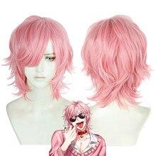 Yarichin cadela bu clube ayato yuri rosa peruca curta cosplay traje resistente ao calor do cabelo sintético carnaval festa perucas