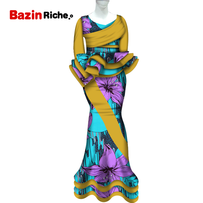 2020 Traditional African Patchwork 2 Piece Skirt Sets Clothing Bazin Riche African Tops And Mermaid Skirt Sets For Women WY5633