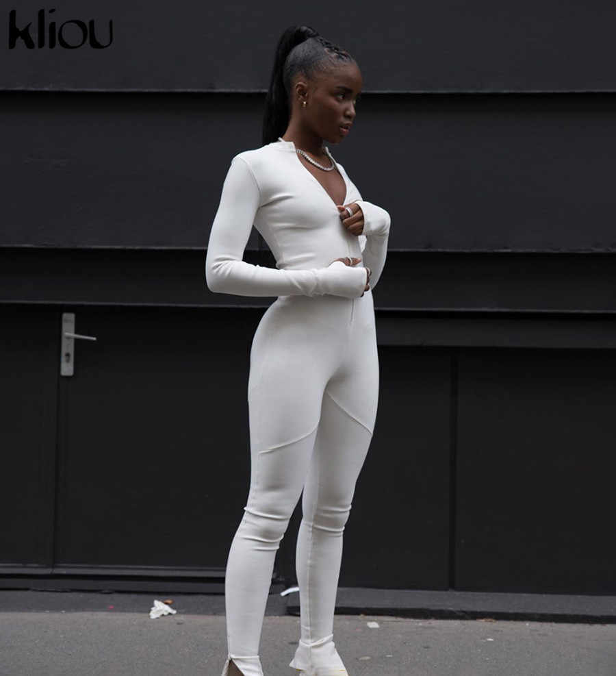 Kliou Black/white Sexy Bodycon tracksuit Jumpsuit  Women 2020 new fitness Romper Long Sleeve Zipper elastic Bodysuit body mujer