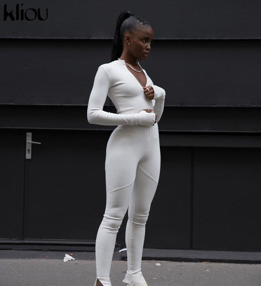 Kliou-combinaison de survêtement pour femmes, noire/blanche, Sexy, moulante, élastique, barboteuse, nouvelle collection 2020