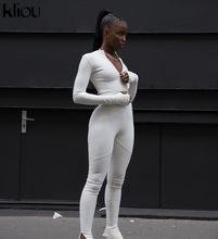 Kliou — Combinaison pantalon noir et blanc, nouveauté 2020, sexy, moulante, survêtement, pantalon de fitness, manches longues, fermeture éclair, élastique, body