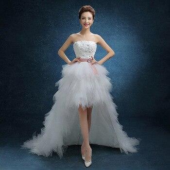 estidos de noiva front short long back Strapless weddign dress Lace Sashes Custom Plus Size Wedding Gowns robe de mariee