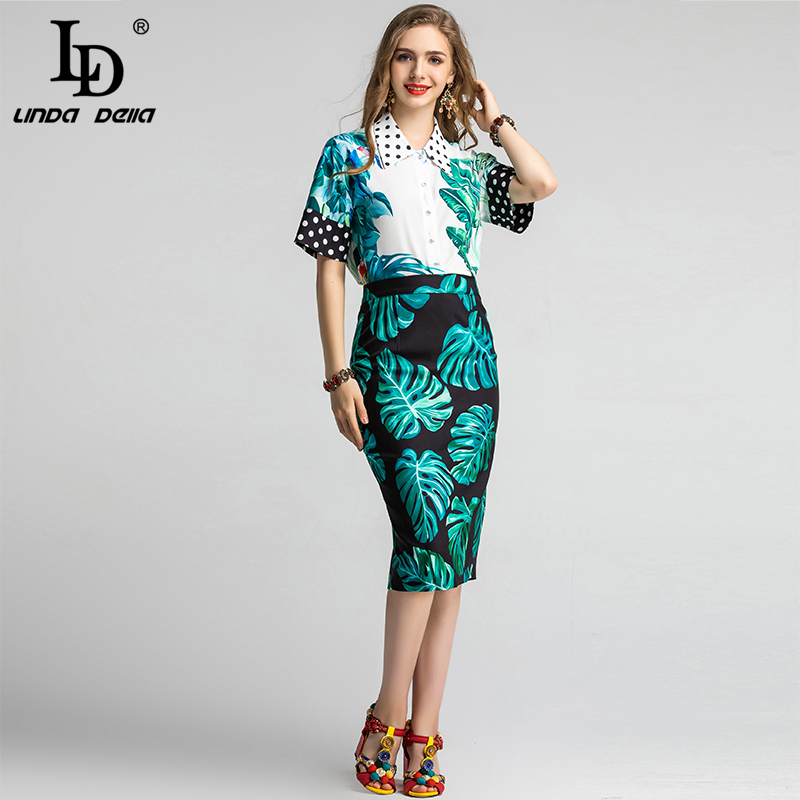 LD LINDA DELLA Spring Summer Fashion Runway Skirt Suit Women's Flower Print Top And Mermaid Ruffles Midi Skirts Two Pieces Set