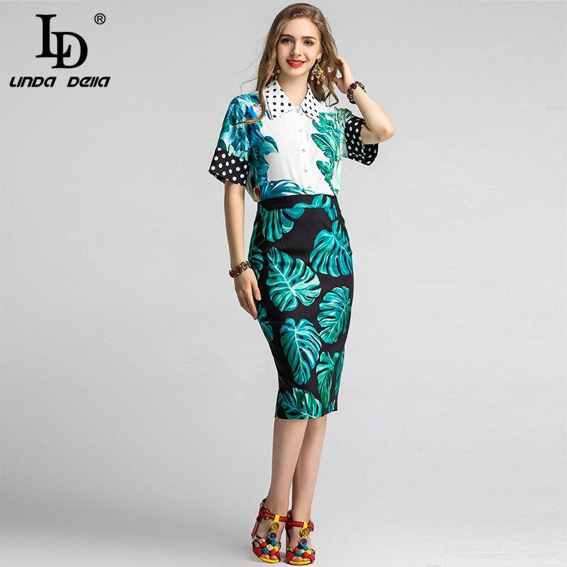 LD LINDA DELLA Spring Summer Fashion Runway Skirt Suit Women's Flower Print Top And Mermaid Ruffles Midi Skirts Two Pieces Set