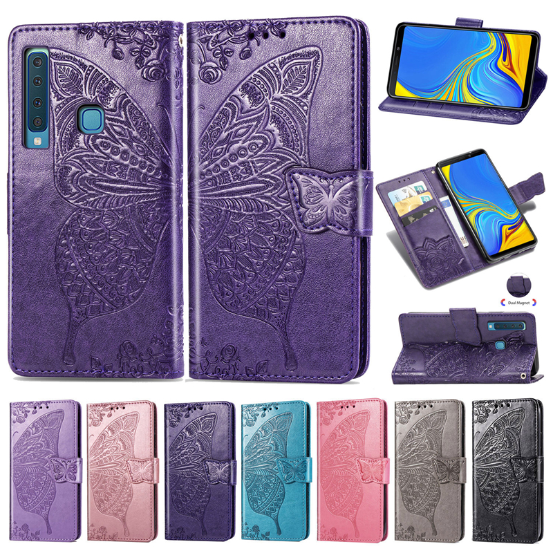 Luxury Butterfly Leather Wallet Flip Cover Case <font><b>Coque</b></font> for <font><b>Samsung</b></font> Galaxy A9 <font><b>2018</b></font> A8 A7 J4 <font><b>J6</b></font> <font><b>Plus</b></font> J3 J8 <font><b>2018</b></font> A90 <font><b>Silicone</b></font> Fundas image