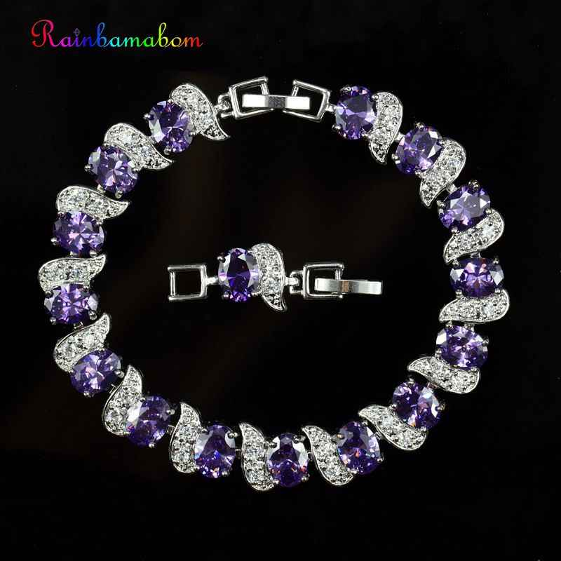 Rainbamabom 925 Sterling Silver Created Moissanite Amethyst Gemstone Bangle Cuff Charm Diamonds Bracelets Fine Jewelry Wholesale