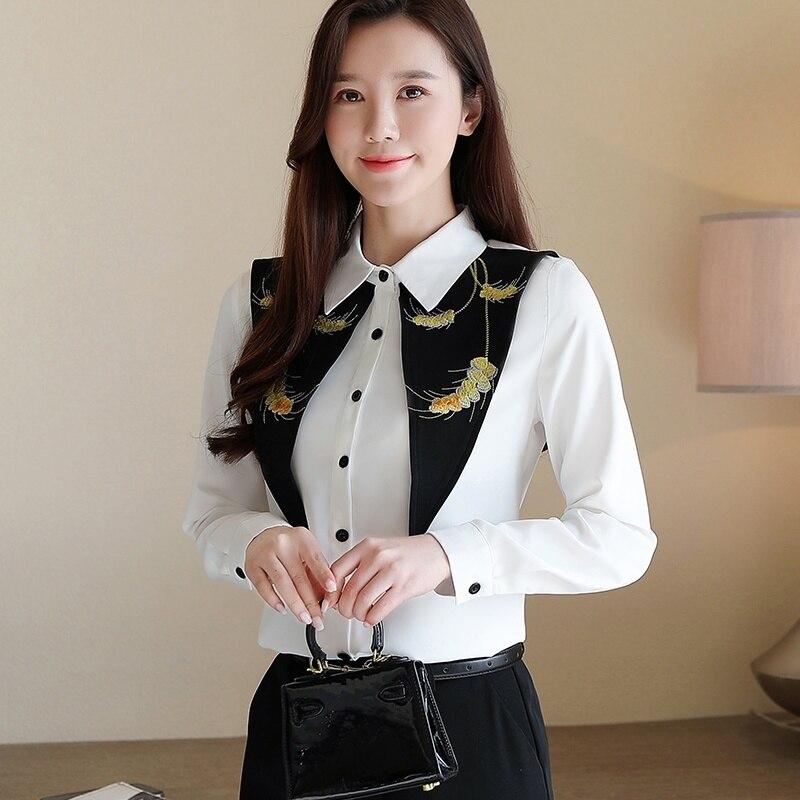 Women Blouses 2020 Fashion Women Shirts Blouses Female Long Sleeve Embroidered Shirt Top Blusa Feminina