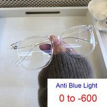 Transparente gafas de computadora mujeres hombres Anti-Luz Azul cuadrado miopía filtros de lentes rayos óptico anteojos recetados 0-6