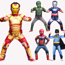 Halloween Children Boy Carnival Deluxe Sets Muscle clothes Super Hero Captain America SpiderMan Hulk Batman Iron man Costume