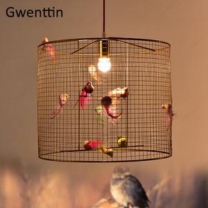 Image 3 - Креативный подвесной светильник в клетку для птиц, скандинавский Лофт, домашний декор для гостиной, спальни, подвесной светильник, современный светодиодный светильник, светильники