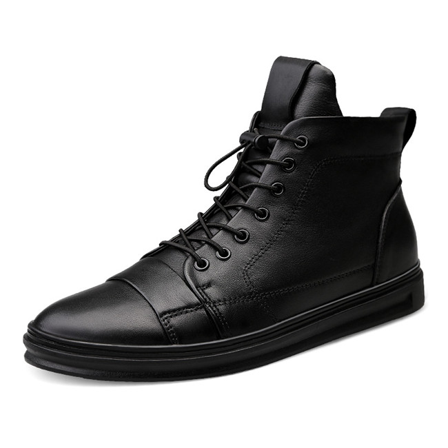 New Big Size Men Shoes High Quality Genuine Leather Men Ankle Boots Fashion Black Shoes Winter Men Boots Warm Shoes With Fur