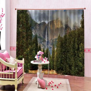 green nature scenery curtains Customized size Luxury Blackout 3D Window Curtains For Living Room forest Decoration curtains