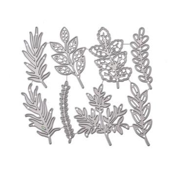 Zestaw liści rama foremki do wycinania metalu wykrojniki formy liście księga gości wytłaczania papieru nóż do rękodzieła formy podkładki chroniące przed uderzeniami ostrzy umiera tanie i dobre opinie Flower Leaves Frame