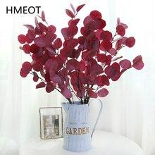 Verde Artificial plantas falso de hoja redonda de eucalipto plantas de hoja rama boda DIY flor materiales apoyos de la foto de Decoración de casa