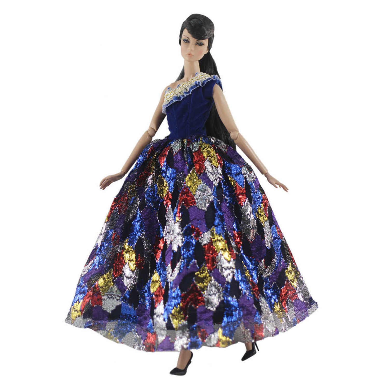Besegad Модные Элегантные Красочные вечернее платье; костюм; одежда со шляпой сумка для куклы Барби 30 см/11,81 дюймов девочка кукла аксессуары