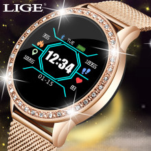 LIGE Fashion smart watch women men Sport waterproof clock Heart rate sleep monitor For iPhone Call reminder Bluetooth smartwatch(China)