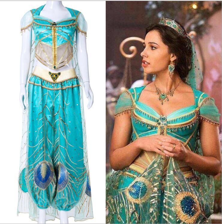 2019 New Movie Aladdin Jasmine Princess Embroidery Cosplay Costume For Adult Women Girls Halloween Costume Drop Ship