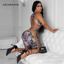 ANJAMANOR Lace Up Hollow Out Bodycon Romper Jumpsuit Women Summer 2020 One Piece