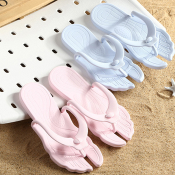 Women's Slippers Summer Folding Travel Portable Slippers Home Flip-Flops Beach Flat Bottomed Light Female Male Sandals Flip Flop image