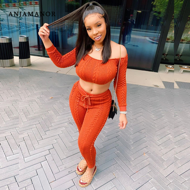 ANJAMANOR Sexy Knitted Sweater Two Piece Set Top And Pants Plus Size Women 2 Piece Fall Winter Outfits Sweatsuits D47-BB22