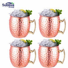 1/ 4 Pieces 550ml 18 Ounces Moscow Mule Mug Stainless Steel Hammered Copper Plated Beer Cup Coffee Cup Bar Drinkware(China)