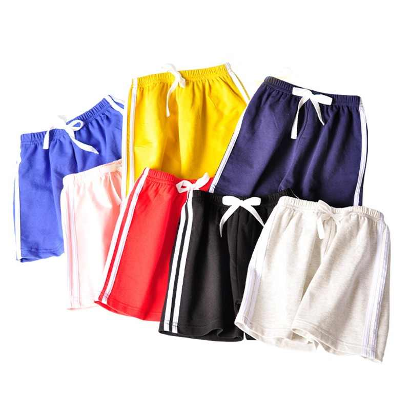 Cotton Shorts For Children 3-14Y Teens Girls Boys Sport Wear Kids Summer Clothes Candy Color Short Pants Striped Jersey Shorts