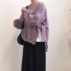 Image 4 - GALCAUR Lace Up Side Split Sweatshirts Female O Neck Lantern Long Sleeve Warm Plus Thick Autumn Womens Sweatshirt Fashion 2020