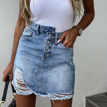 Fashion Women Irregular high waist Hole Button denim Skirt Fashion Streetwear 2020 Summer Mini Skirt
