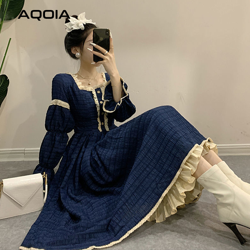 2021 Spring Lace Women Dress Lolita Style Sweeter Long Sleeve Square Collar Dresses Latern Sleever Cute Cosplay Ladies Dress-0