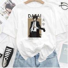 Bungo Stray Dogs Tshirt Women Men Harajuku Anime T Shirt Osamu Dazai Nakajima Atsushi Short Sleeve White Graphic T Shirts Summer