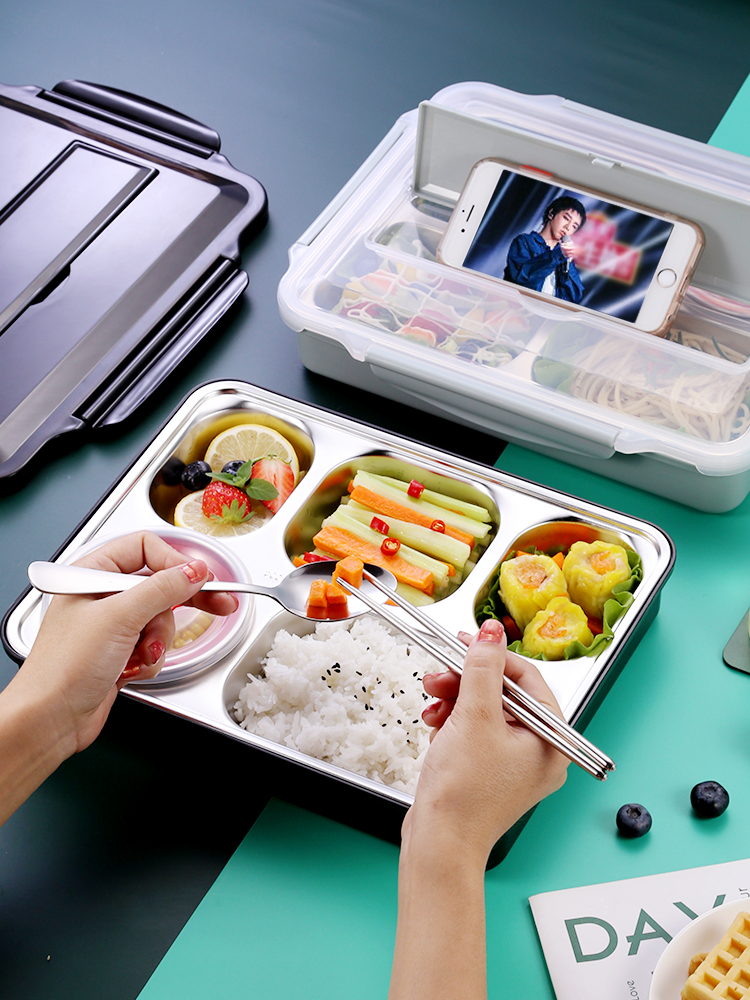 Stainless Steel Lunch Box Thermal Insulated Bento Box Microwavable Leakproof Food Container Lunch Boxes For Kid Adult Tableware
