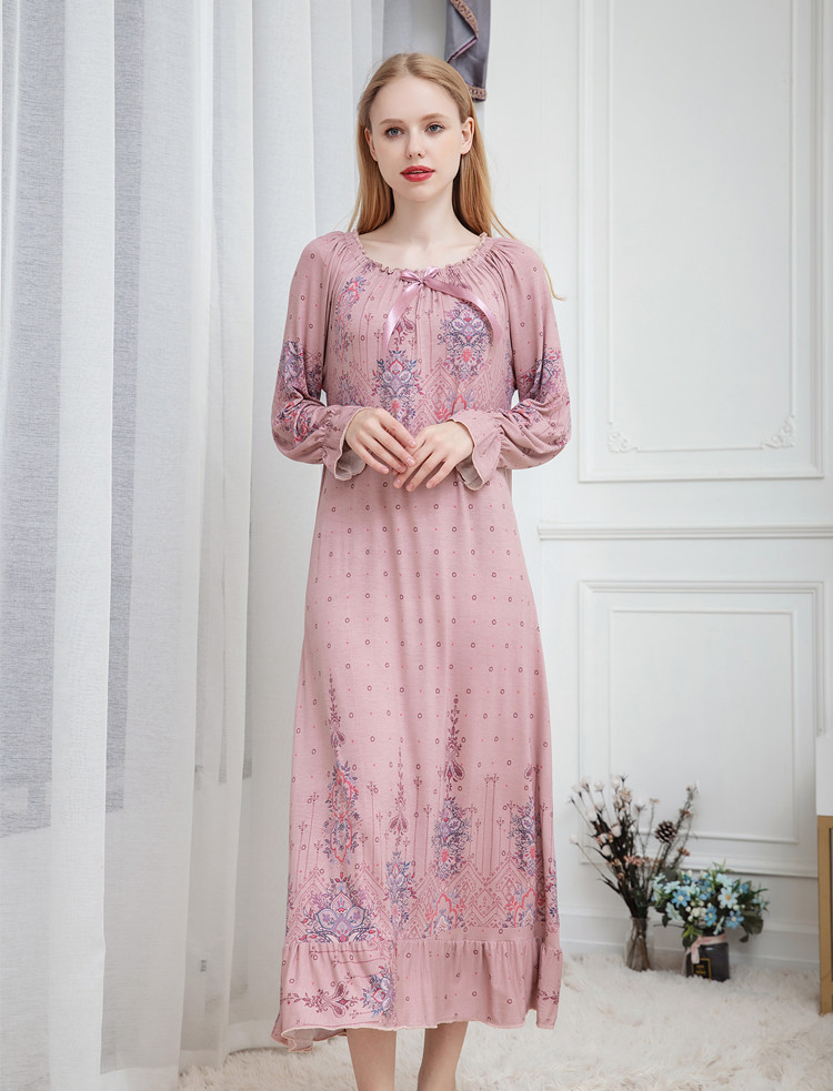 Image 3 - Long Nightgown Sexy Ladies Nightwear Plus Size Sleepwear Chemise Cute Nighties for Women Modal Cotton Nightdress Nighty DressNightgowns & Sleepshirts   -