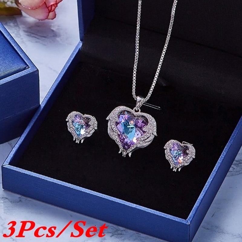 3pcs/Set Necklace Set Pendant Necklaces Earrings Set Women Crystal Jewelry Set Fashion Jewelry Accessories