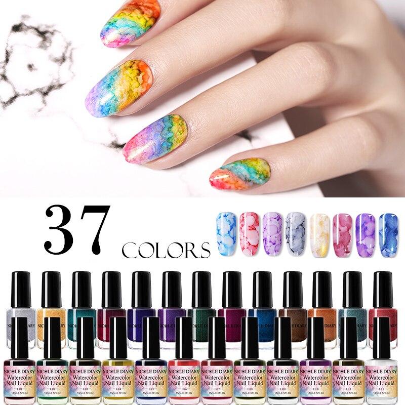 NICOLE DIARY 15ml 6ml Colorful Watercolor Nail Ink Blossom Nail Polish DIY Nail Art Purple Green  For Nail Decoration
