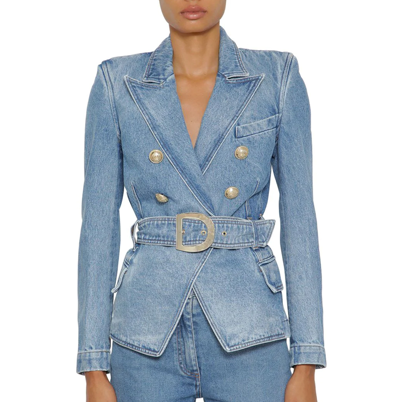 HIGH STREET 2020 New Fashion Designer Blazer Women's Double Breasted Metal Lion Buttons Belted Soft Denim Jacket Blazer
