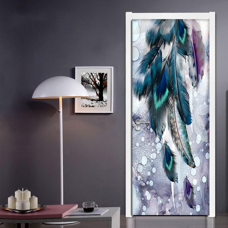 DIY Creative Self-adhesive 3D Door Sticker Modern Fashion Color Feather Living Room Bedroom Door Mural PVC Waterproof Wall Paper