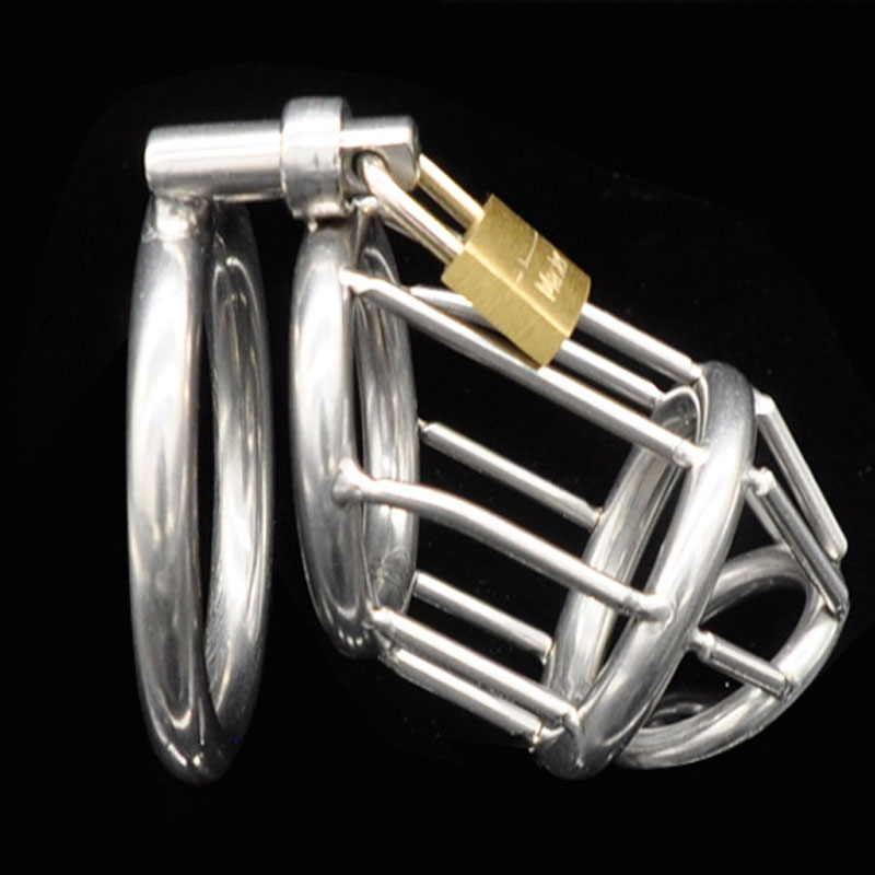 Stainless Steel Male Chastity Device,Cock Cage,Chastity Belt,Penis Ring,Virginity Lock,<font><b>Adult</b></font> Game,<font><b>Sex</b></font> <font><b>Toy</b></font> <font><b>For</b></font> <font><b>Men</b></font>/Gay <font><b>Ball</b></font> Cbt image