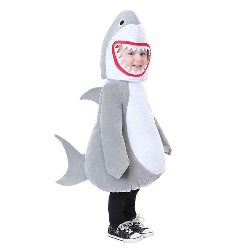 Halloween Cosplay grand requin Costume gris robe fête sous-marine animaux Costumes Performance pour enfants enfants scène vêtements