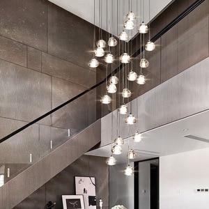 Image 5 - 天井のシャンデリアキッチンロング階段照明モールヴィラホテルランプロフトクリスタルボールledシャンデリア