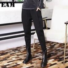 [EAM] ยืดหยุ่นสูงเอวสีดำLeisureพับHaremกางเกงใหม่หลวมFitกางเกงผู้หญิงแฟชั่นฤดูใบไม้ผลิฤดูใบไม้ร่วง2020 JK480