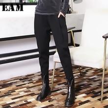 Женские свободные брюки EAM, черные шаровары с высокой эластичной талией, со складками, весна осень 2020
