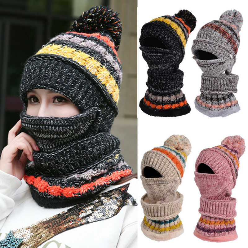 3 PCS Women Wool Hat Mask Scarf Set Lady Winter Knitted Beanie Hat Warm Neck Scarf Mask For Outdoor Ski