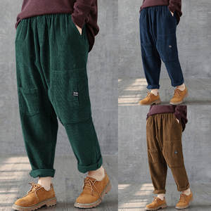 Women Pants Trousers Waistline Stretch Fleece Corduroy Large-Size Fashion Multi-Pocket