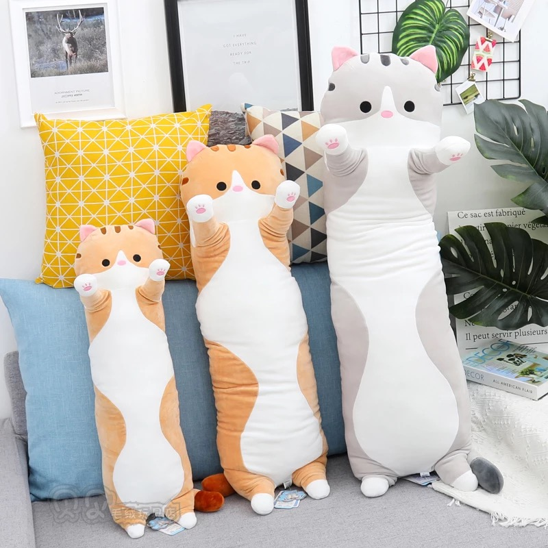 Plush Animal Cat Pig Shiba Inu Creative Long Soft Toys Office Lunch Break Nap Sleeping Pillow Cushion Stuffed Gift Doll For Kids