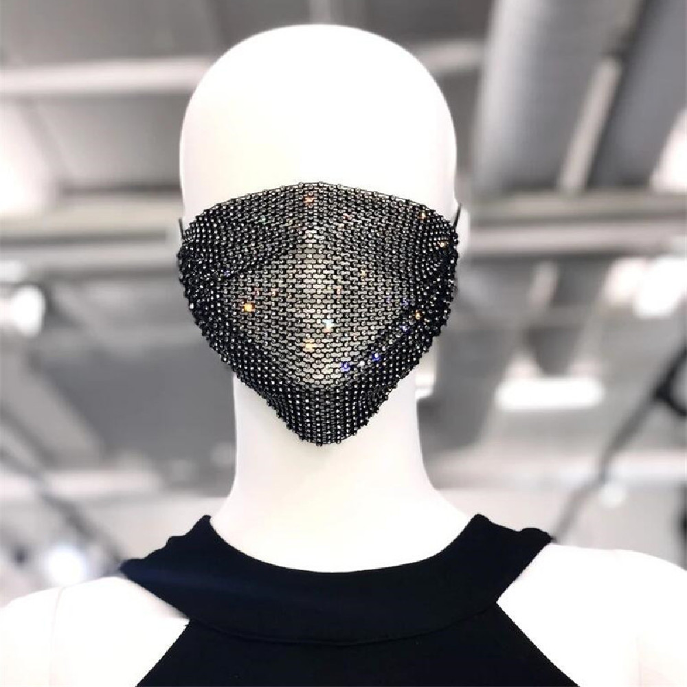 Shiny Crystal Mouth Face Mask For Female 2020 Trendy Decorative Face Mask Rhinestone Prom Party Body Jewelry