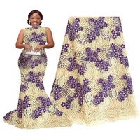 African Lace Fabrics Nigeria Lace Fabrics Embroidery Blue Yellow Wedding Beaded Lace African Bridal Lace Fabric 5 Yards 2019