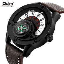 Оригинальные кожаные мужские часы oulm кварцевый большой циферблат