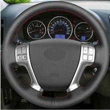 Diy mão-costurado preto couro artificial volante do carro capa para hyundai veracruz 2007-2012 ix55 2007-2012 vera cruz